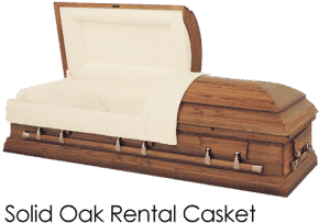 Funeral Home Cremation Costs 000028 Solid Oak Rental Casket