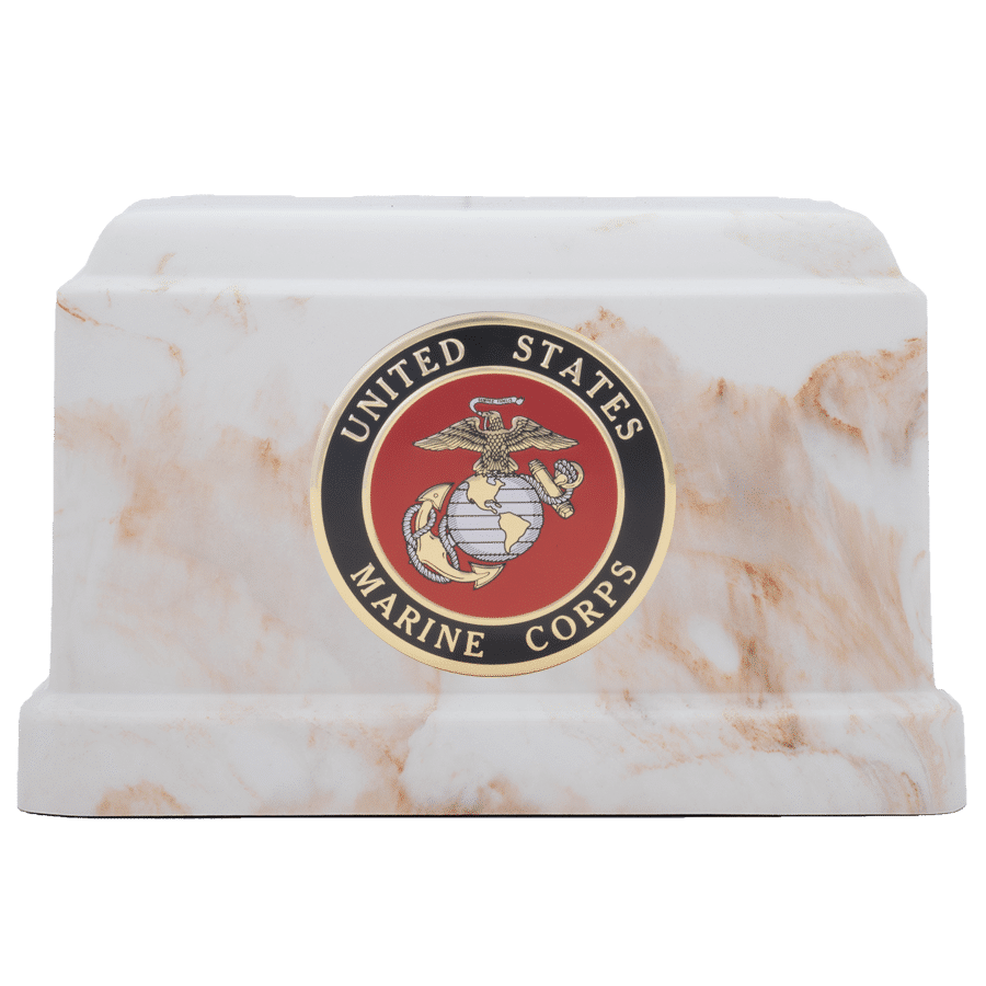 Veterans Funeral Care Centurian IV urn with Marine Corps seal