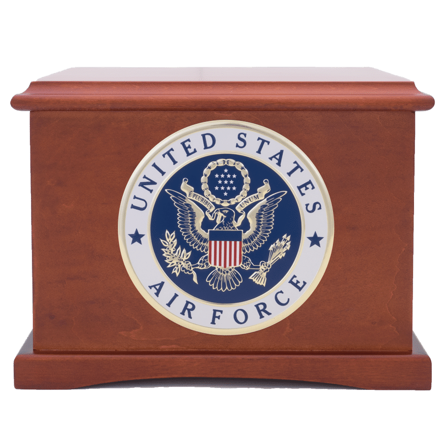 Air Force seal on Coronet urn from Veterans Fuenral Care