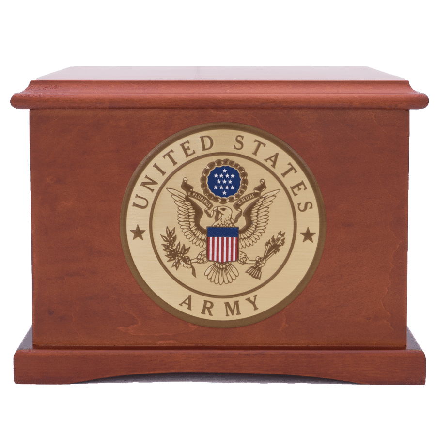 Veterans Funeral Care Coronet wood urn with Army seal