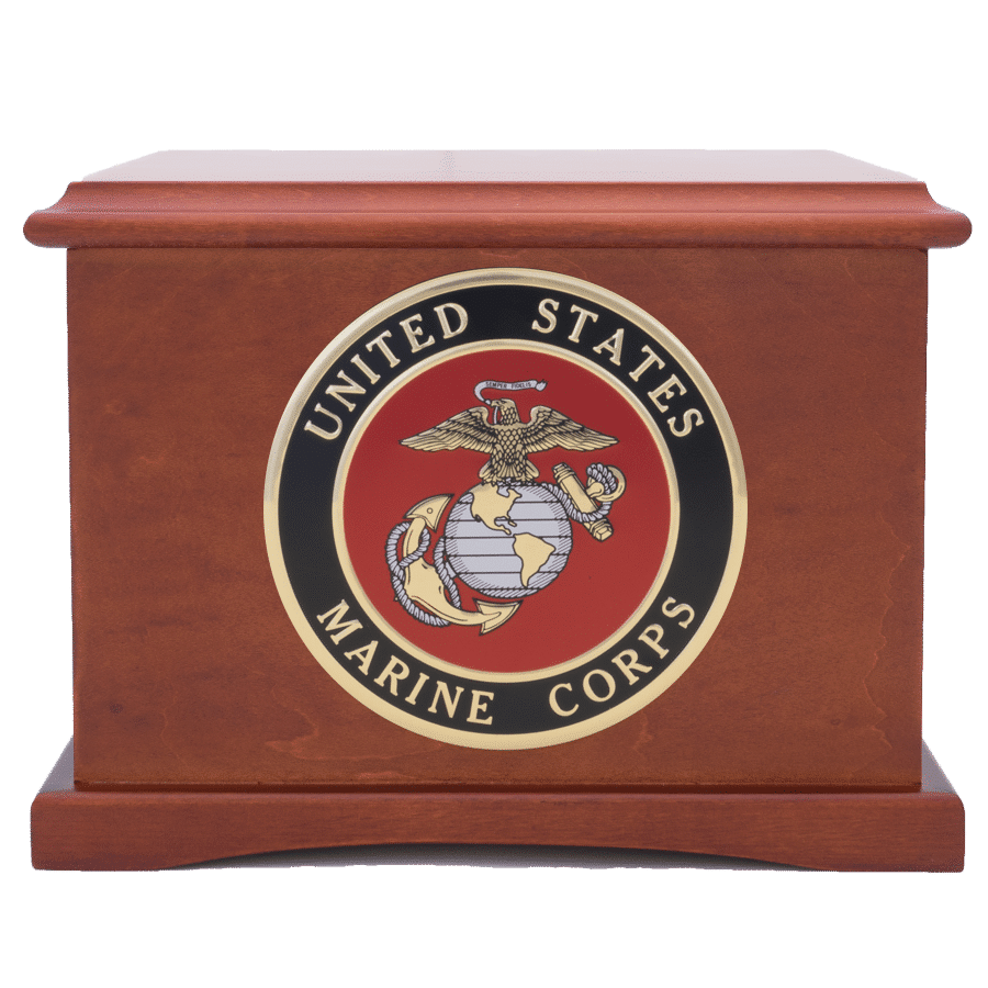 Veterans Funeral Care Coronet wood urn with Marine Corps seal