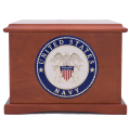 Veterans Funeral Care Coronet wood urn with Navy seal