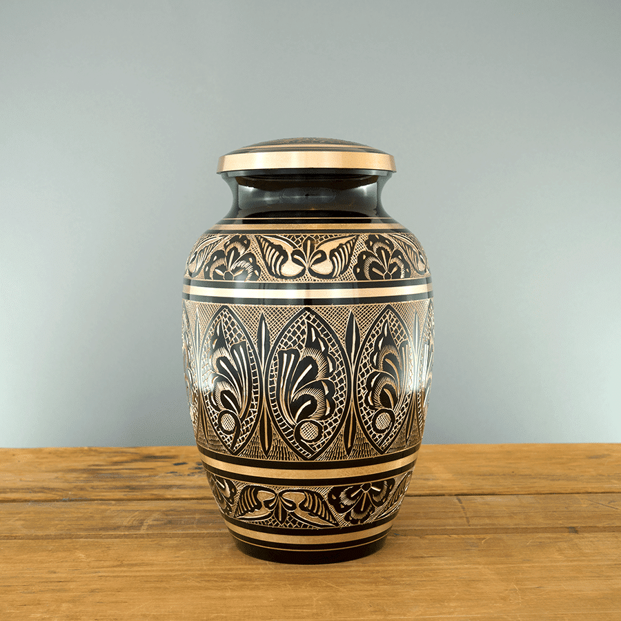 Moderne Urn Gold and Black Veterans