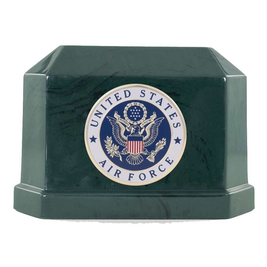 Veterans Funeral Care Green Navarro urn with Air Force seal