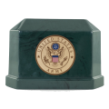 Veterans Funeral Care Green Navarro urn with Army seal