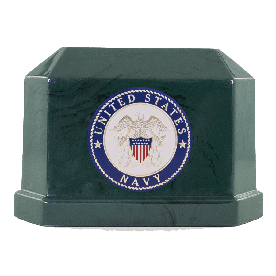 Veterans Funeral Care Green Navarro urn with Navy seal
