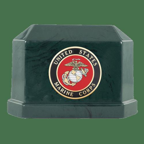 VFC Navarro Green Marble Urn with Marine Corp Emblem