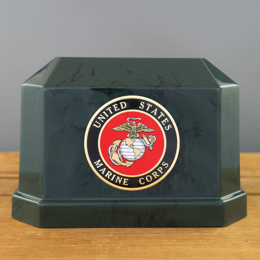 Veterans Funeral Care Marine Corps Seal on Navarro Urn